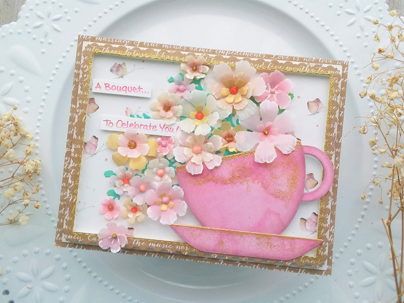 Teacup Bouquet of Vellum Flowers