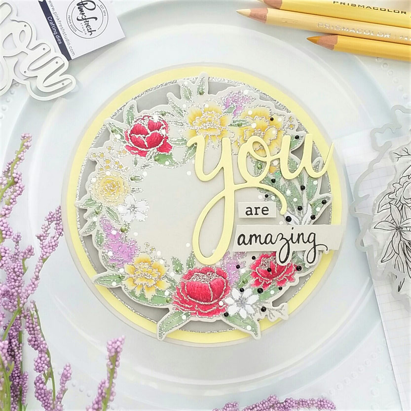 Soft Yellow Floral Circle Card
