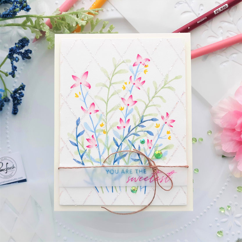 Enchanting Meadow Stencil With Colored Pencils