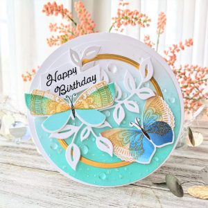 Circle Card With Brilliant Butterflies